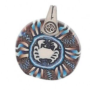 Last One! CANCER Artisan crab PENDANT blue brown